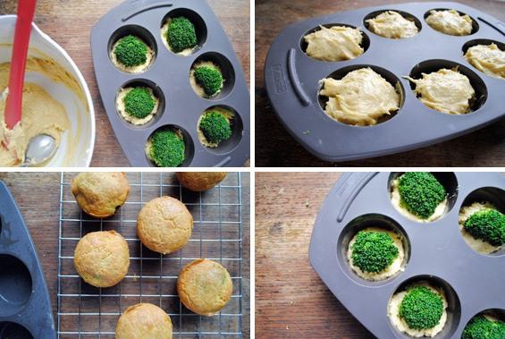 cómo preparar el molde de magdalenas brocoli