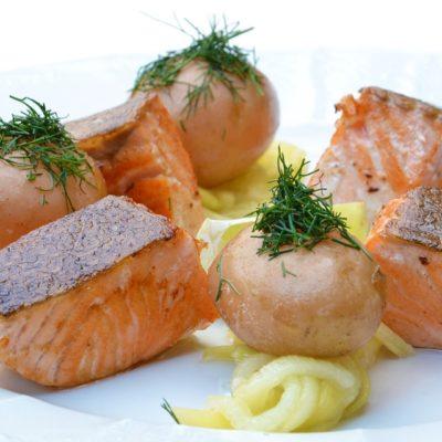 salmón con pasta