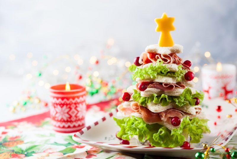 Sandwiches navideños para niños: árboles de Navidad divertidos