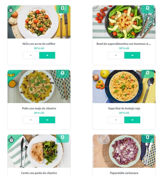 Ejemplos de recetas en Foodinthebox