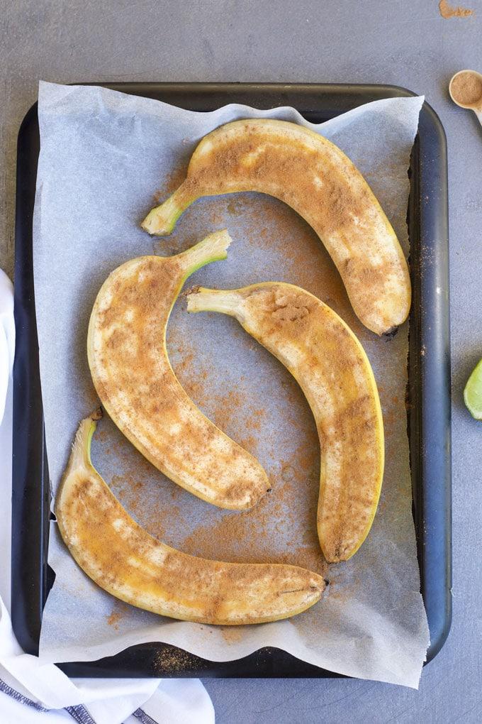Plátanos al horno para bebés BLW