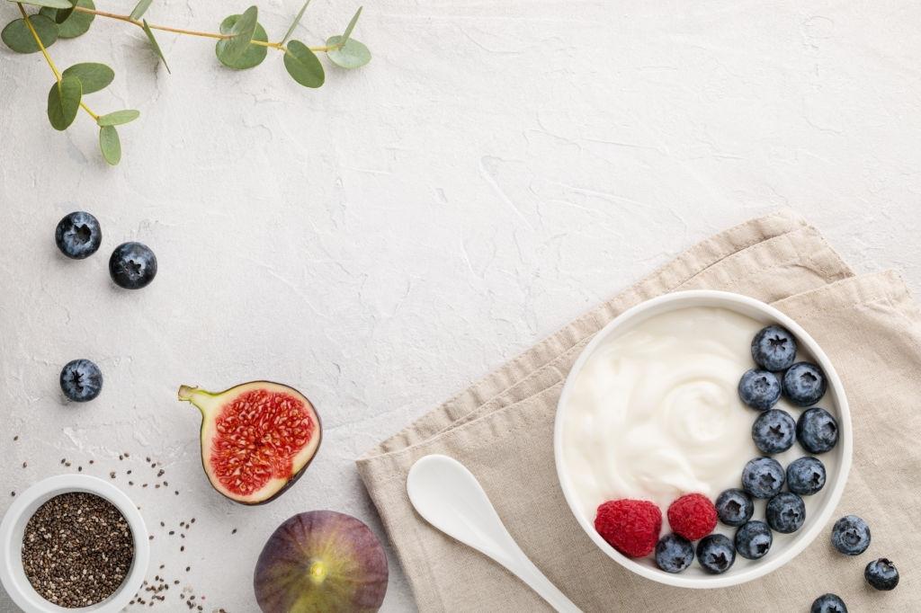 Idea de presentacion de ración de kefir de leche