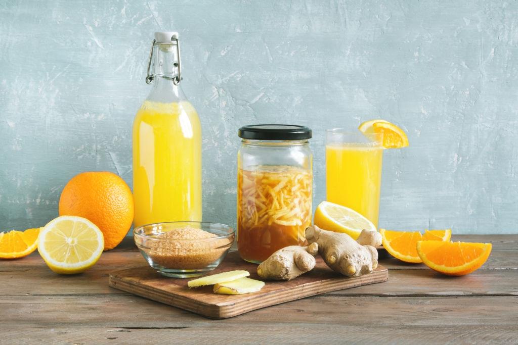 receta Kombucha con menta, naranja y jengibre