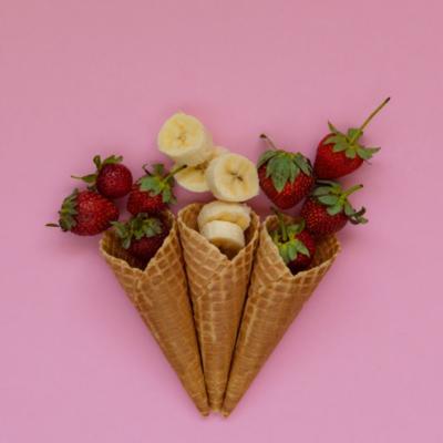 helado de fresa y platano