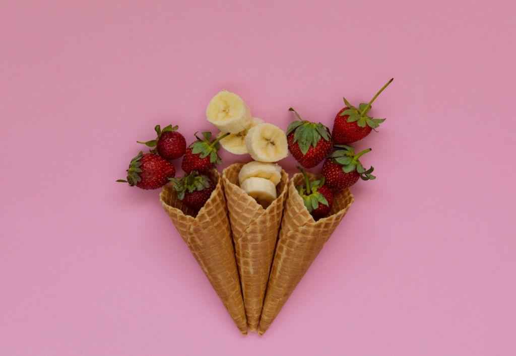 Helado de fresa y plátano