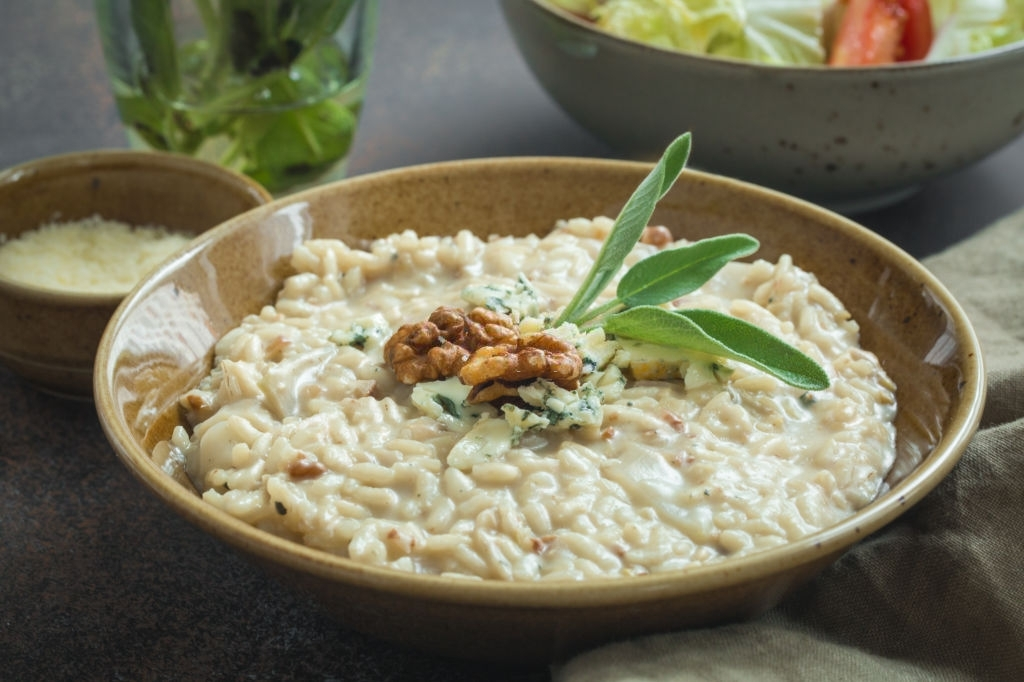 Risotto Gorgonzola, pera y nueces