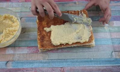 Untar capas de crema pastelera