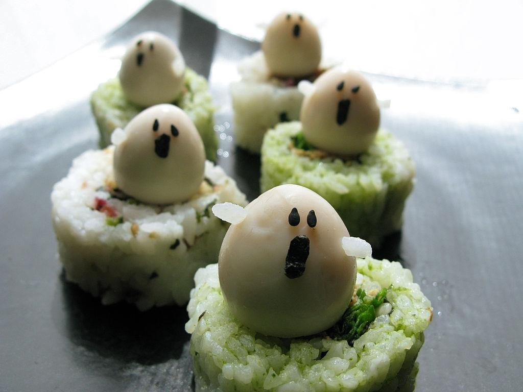Sushi fantasmas para Halloween