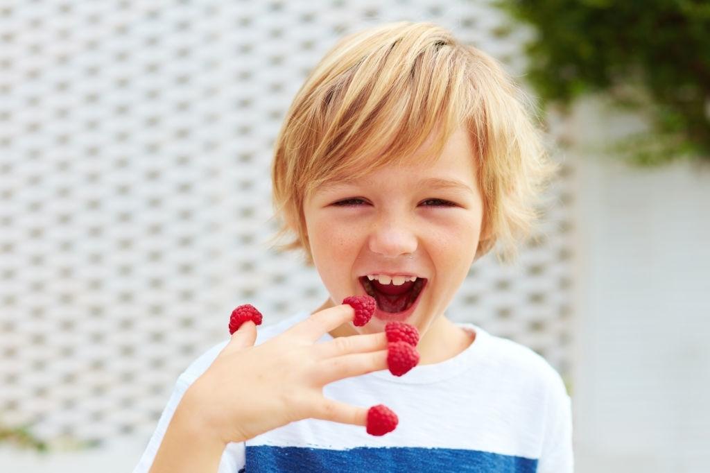 niño comiendo frambuesas