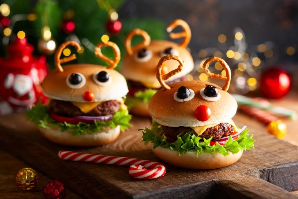 Hamburguesa reno de navidad para niños