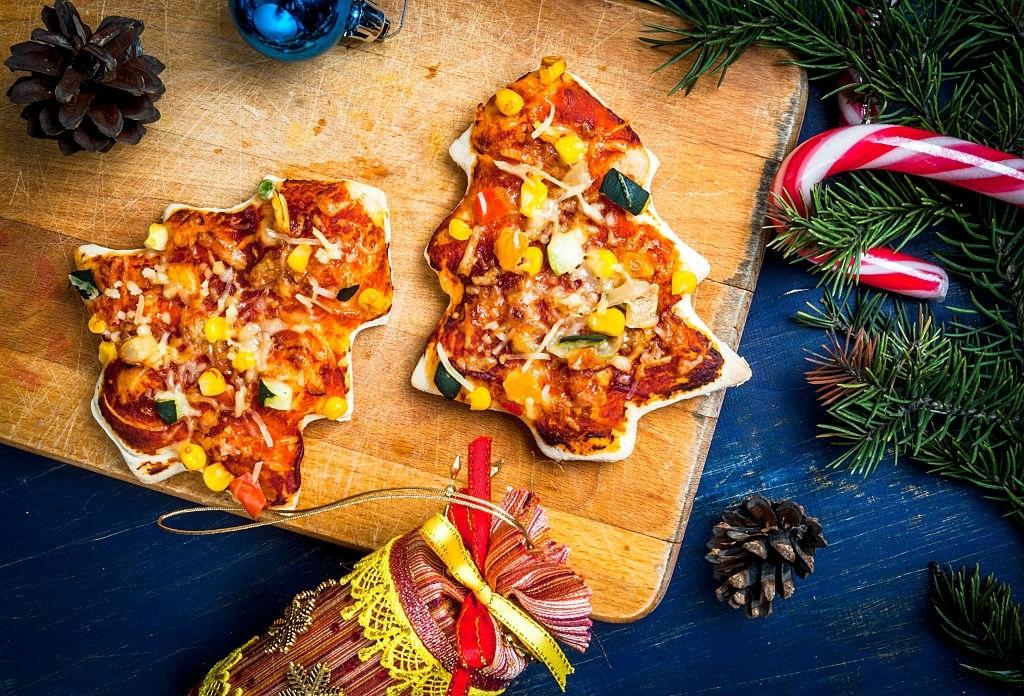 Pizza infantil navideña