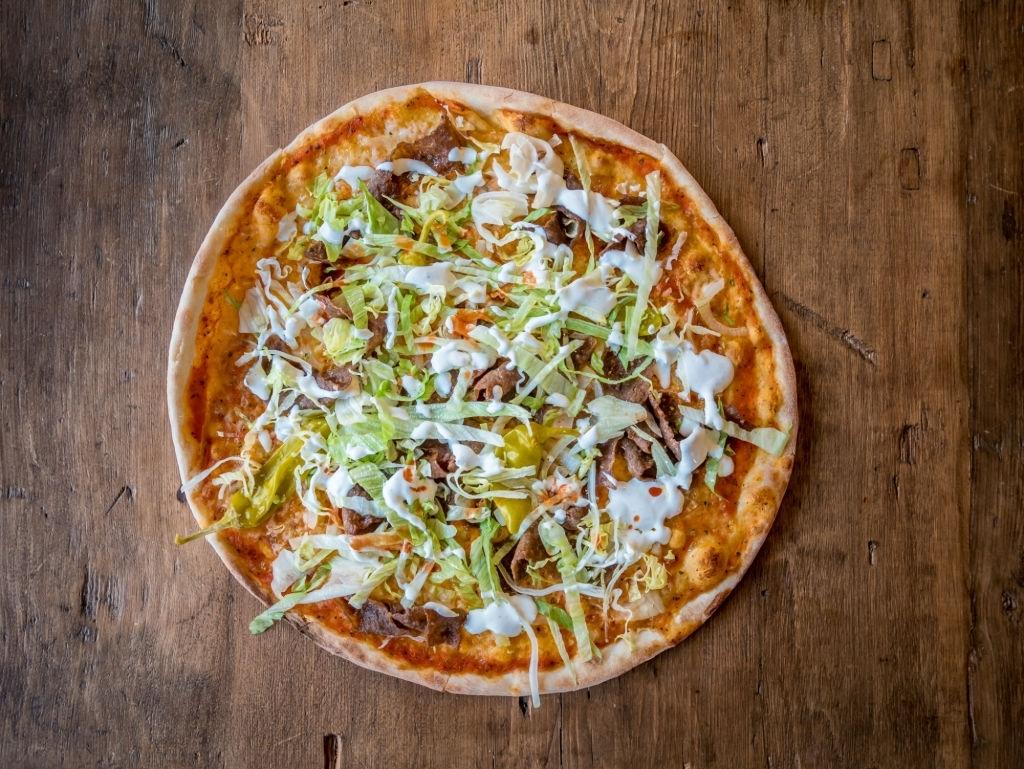 hacer pizza con kebab